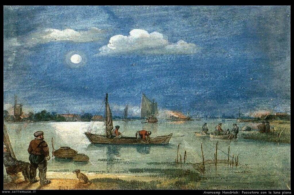 Pescatore con luna piena
