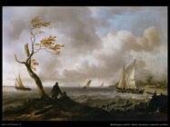 Barche da pesca e veliero in acque agitate