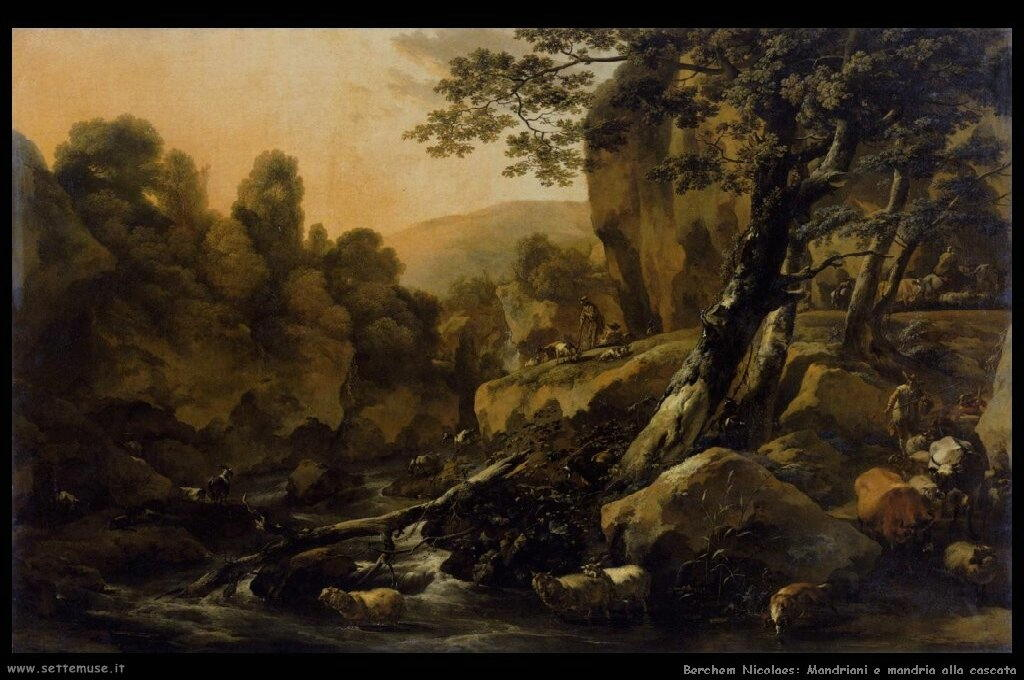 berchem_nicolaes_506_herdsmen_and_herds_at_a_waterfall