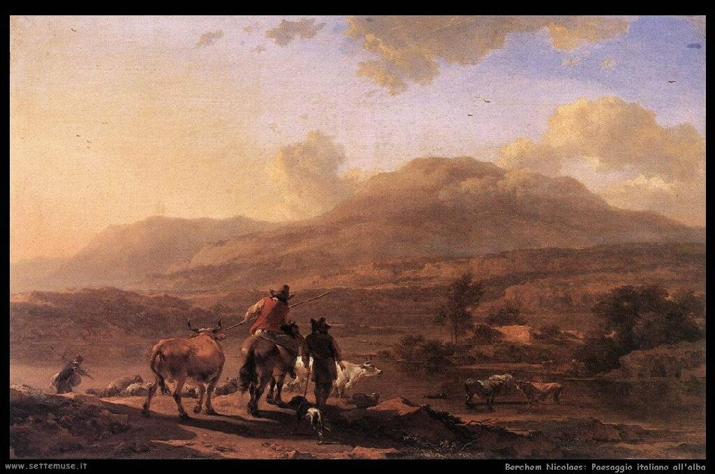 berchem_nicolaes_510_italian_landscape_at_sunset