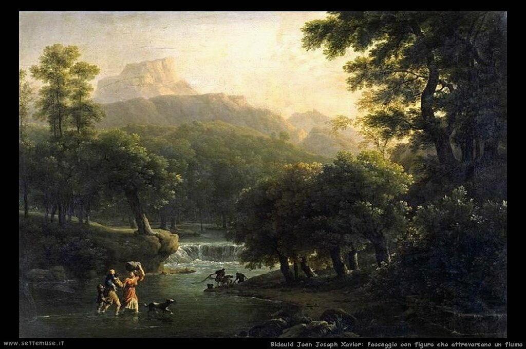 Paesaggio con figure che attraversano un fiume