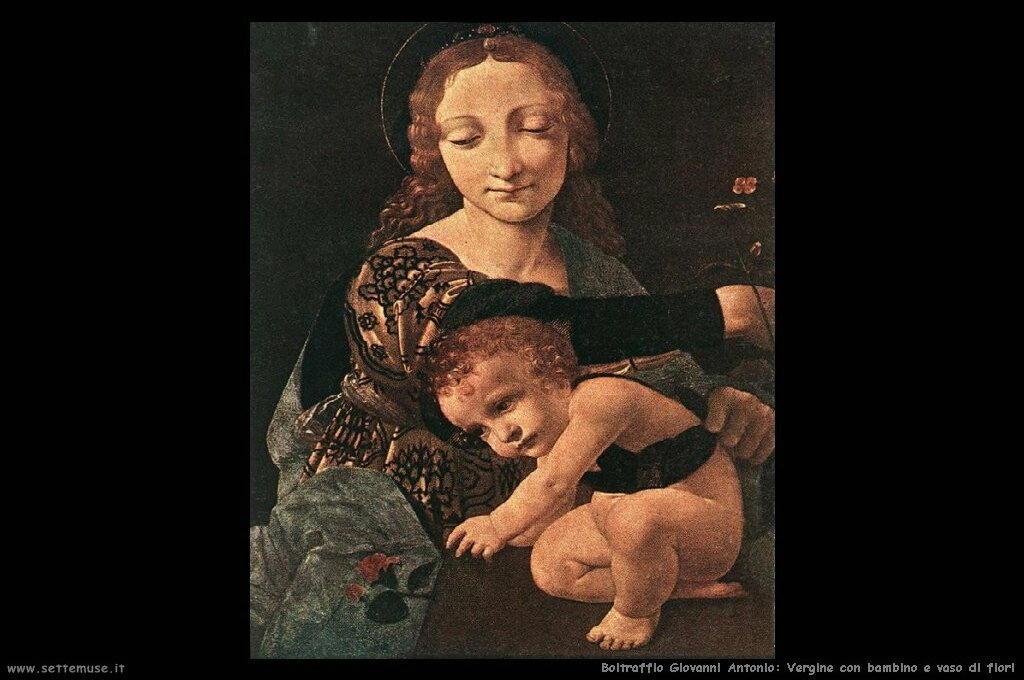 Vergine con bambino e vaso di fiori