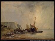 Navi vicino alla riva in Normandia