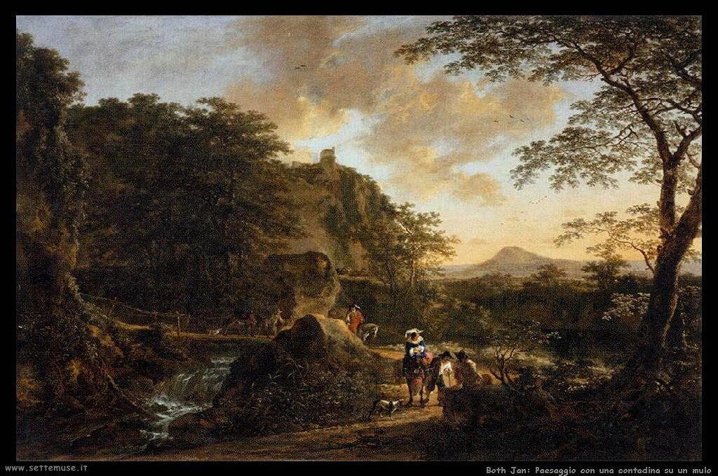 Paesaggio con una donna sul mulo