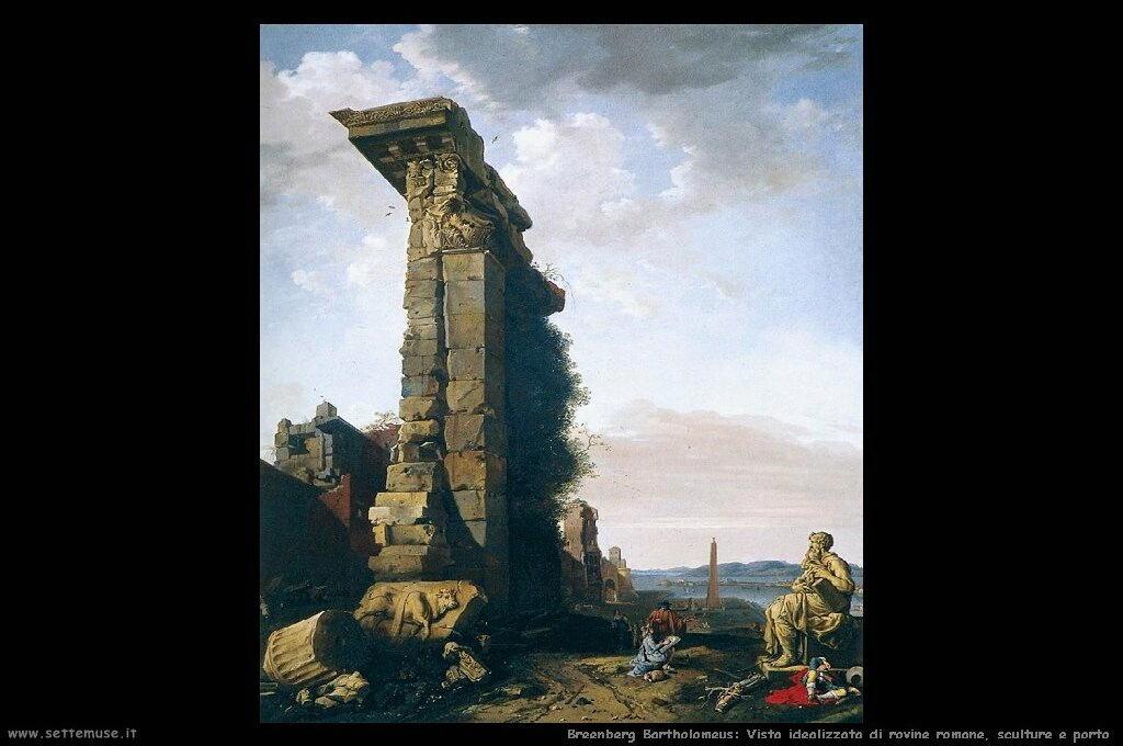 Vista idealizzata di rovine romane, sculture e porto