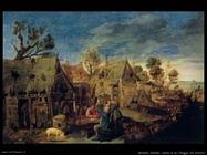 Scena di villaggio con uomo che beve