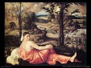Donna sdraiata con paesaggio