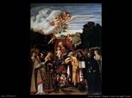 Vergine in trono con angeli e santi