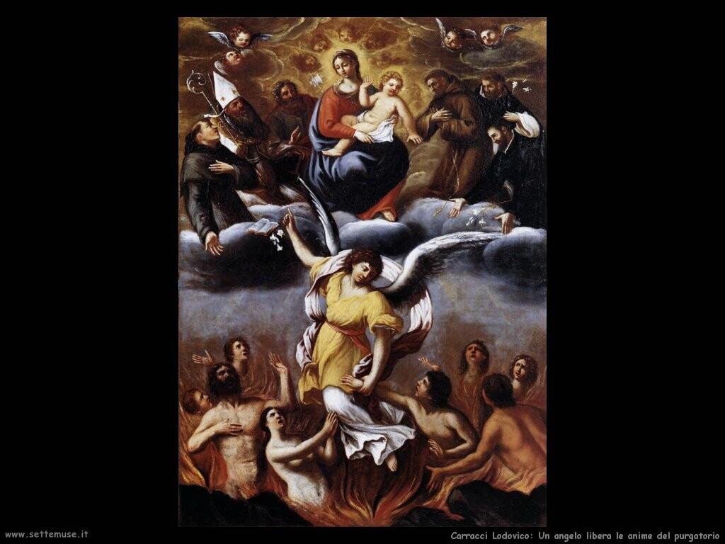 Un angelo libera le anime del purgatorio