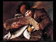 Ragazzo con un cesto di pesci