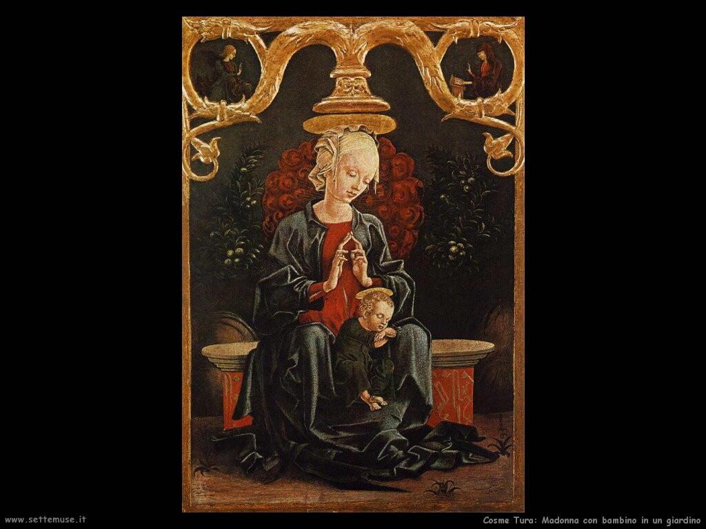 Madonna e bambino in un giardino