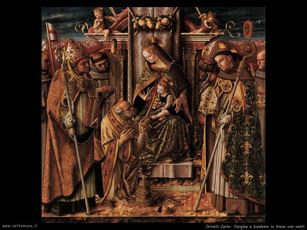 Vergine e bambino in trono con santi