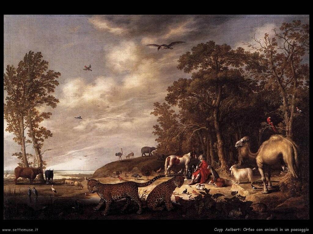 Orfeo con animali in un paesaggio