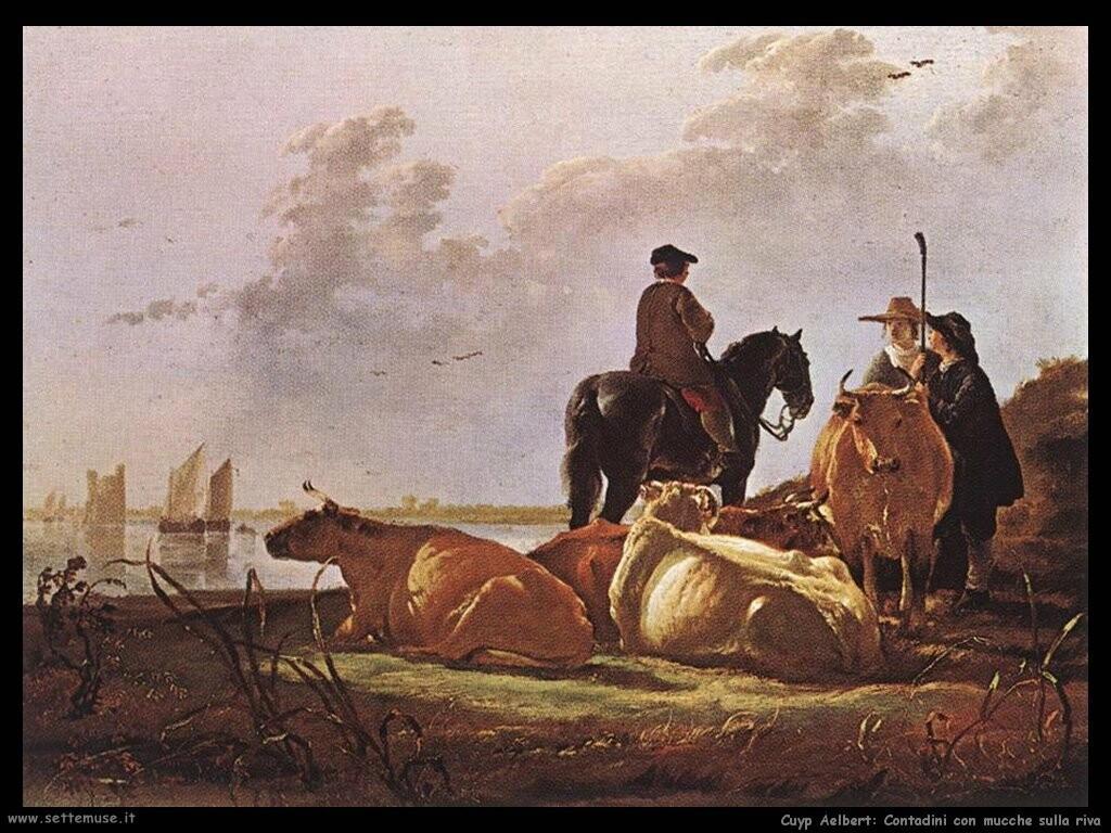 Contadini con quattro mucche sul fiume