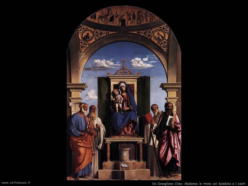 da conegliano cima Madonna e bambino in trono con santi