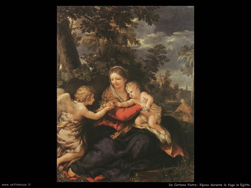 da cortona pietro Sacra famiglia in riposo durante la fuga in Egitto