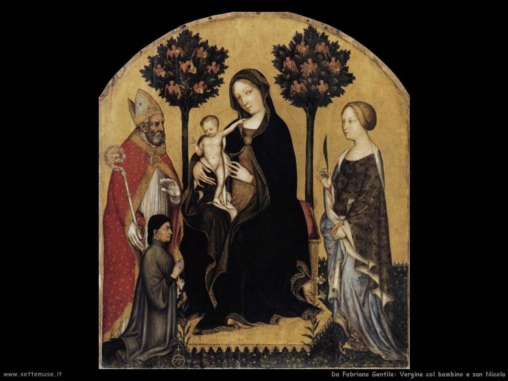 da fabriano gentile Vergine con bambino e san Nicola