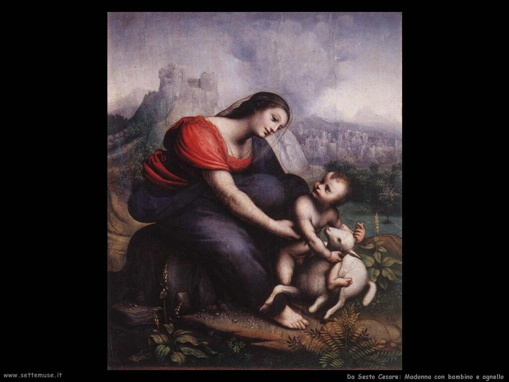 da sesto cesare Madonna e bambino con agnello