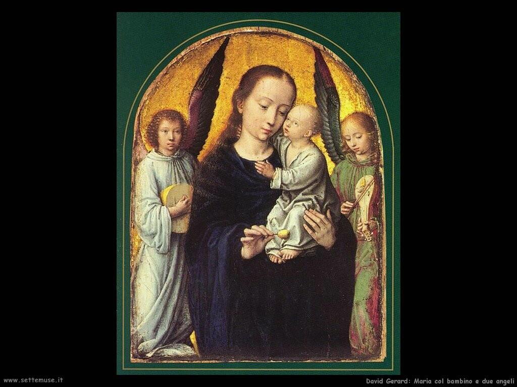 david gerard  Maria con il bambino e due angeli