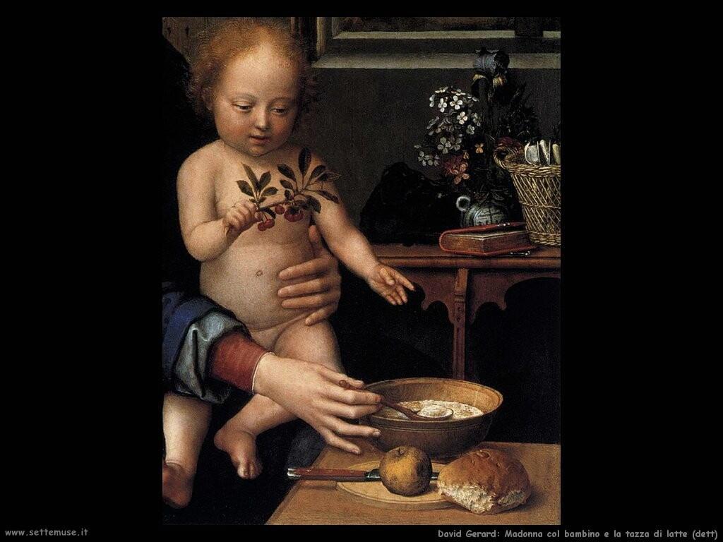david gerard Vergine e bambino con la zuppa di latte (dett)