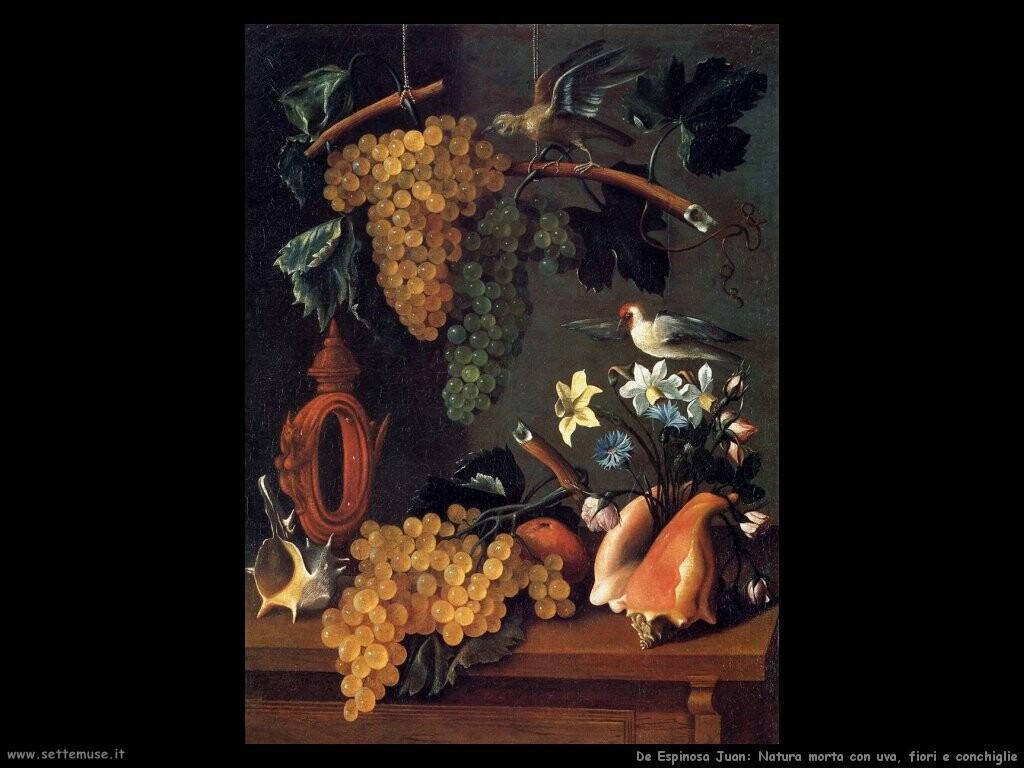 de espinosa juan Natura morta con uva, fiori e conchiglie
