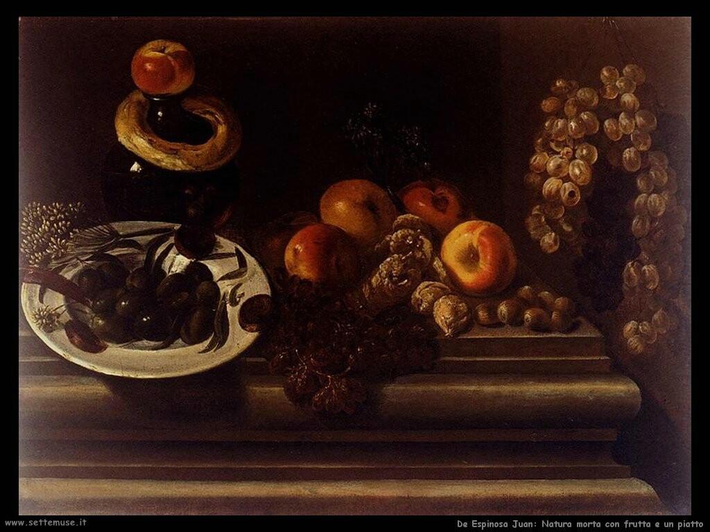 de espinosa juan Natura morta con frutta e piatto