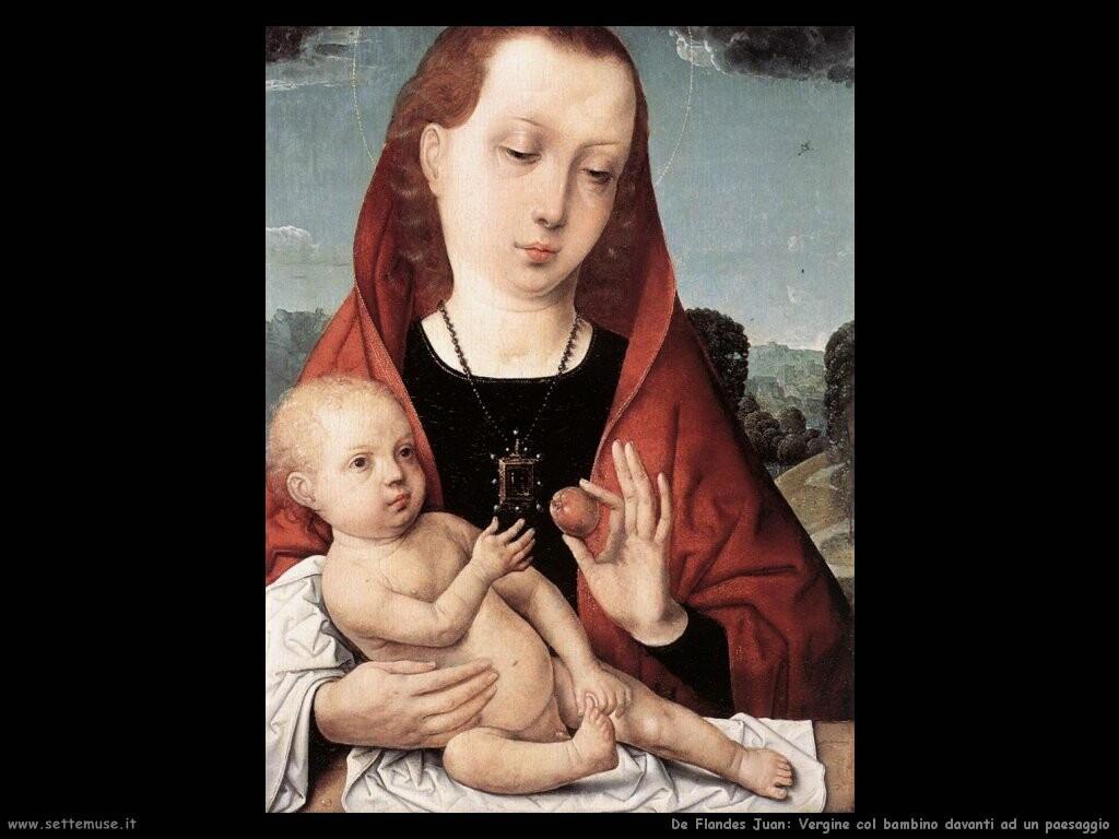 de flandes juan Vergine e bambino davanti ad un paesaggio