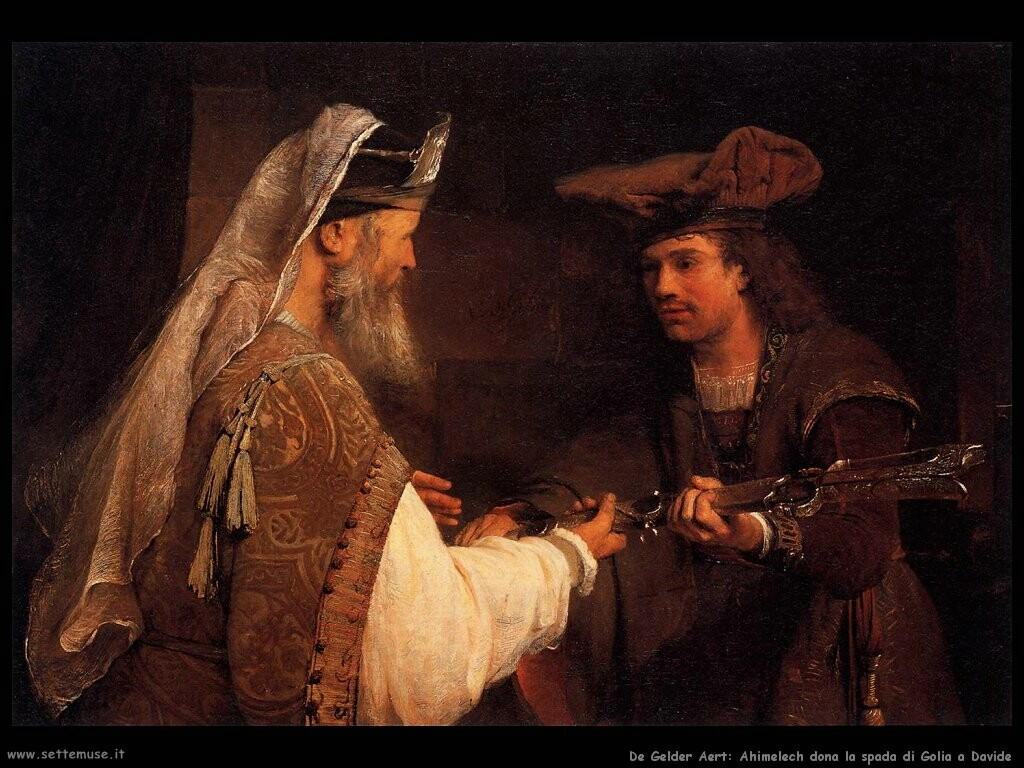 de gelder aert Ahimelech offre la spada di Golia a Davide