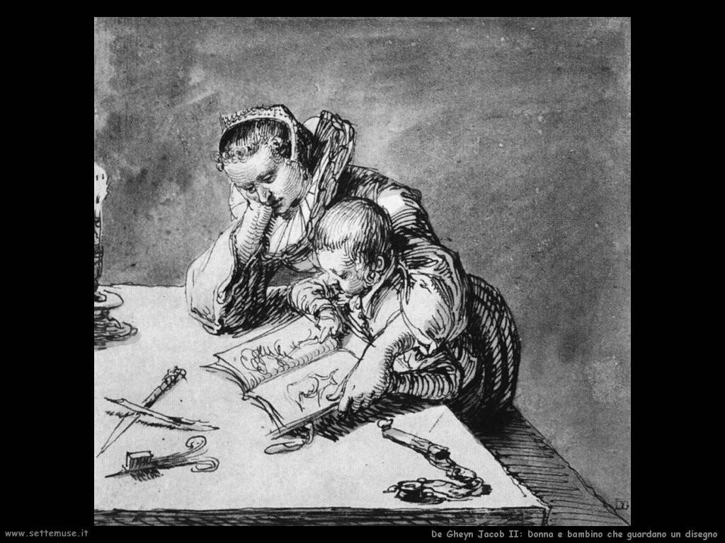 de gheyn jacob II Donna con bambino che guardano i disegni