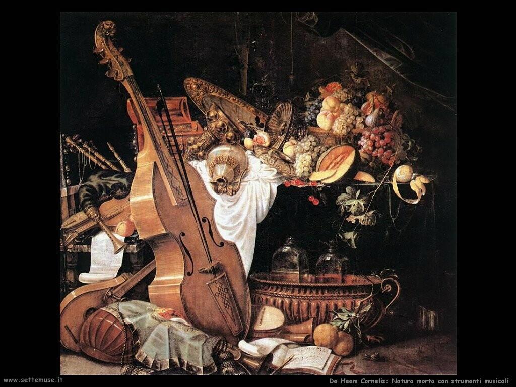 de heem cornelis Natura morta vanitas, con strumenti musical