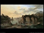 de heusch jacob Vista del fiume con il ponte rotto