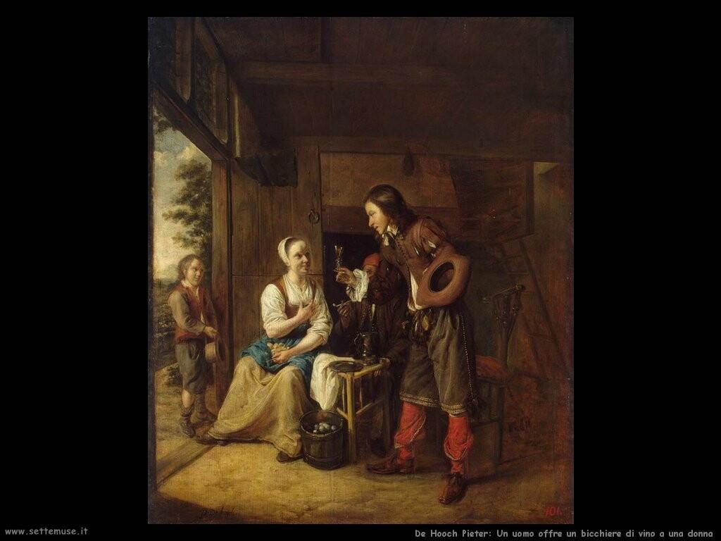 de hooch pieter Un uomo offre un bicchiere di vino a una donna