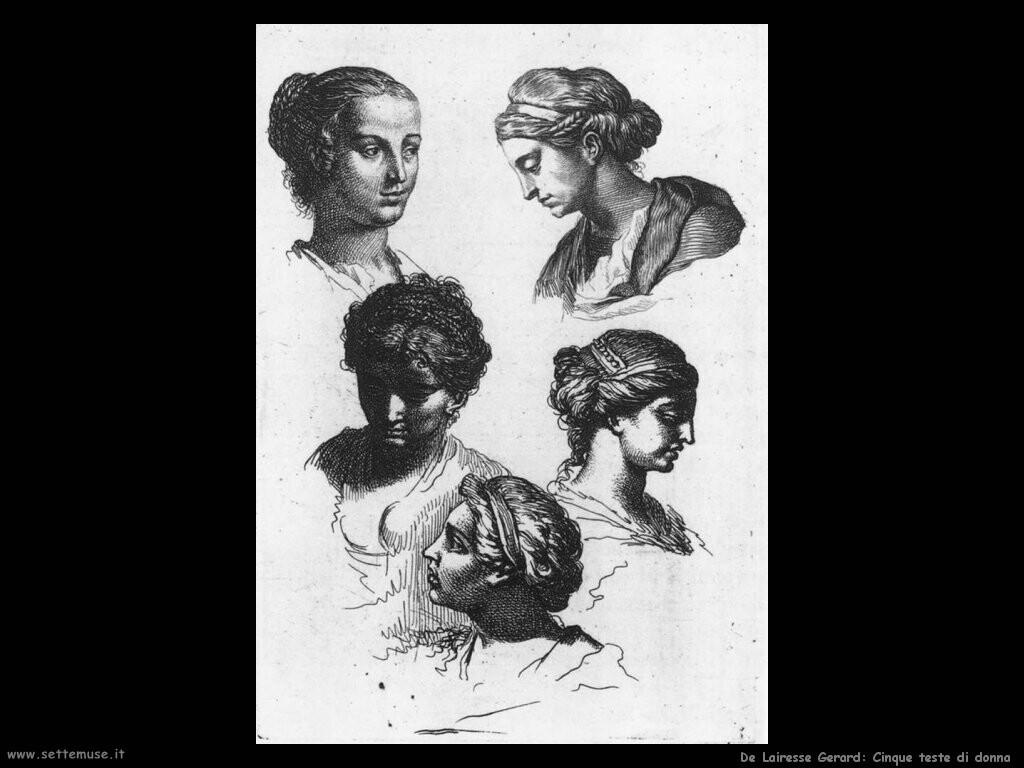 de lairesse gerard Teste di cinque donne