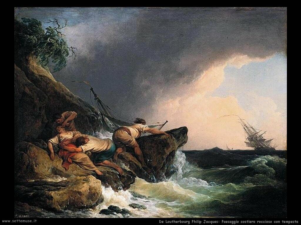 de loutherbourg philip jacques  Paesaggio costiero roccioso nella tempesta