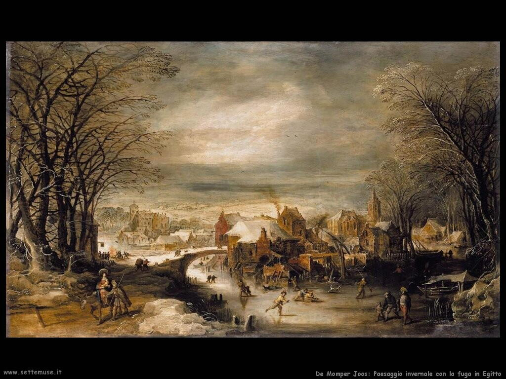 de momper joos Paesaggio invernale con fuga in Egitto