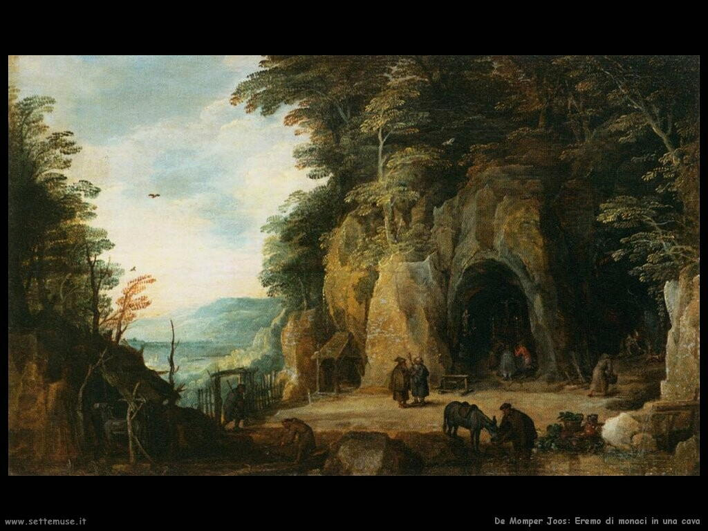 de momper joos Monaci eremiti in una caverna