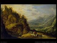 de momper joos Paesaggio montano con persone e un asino