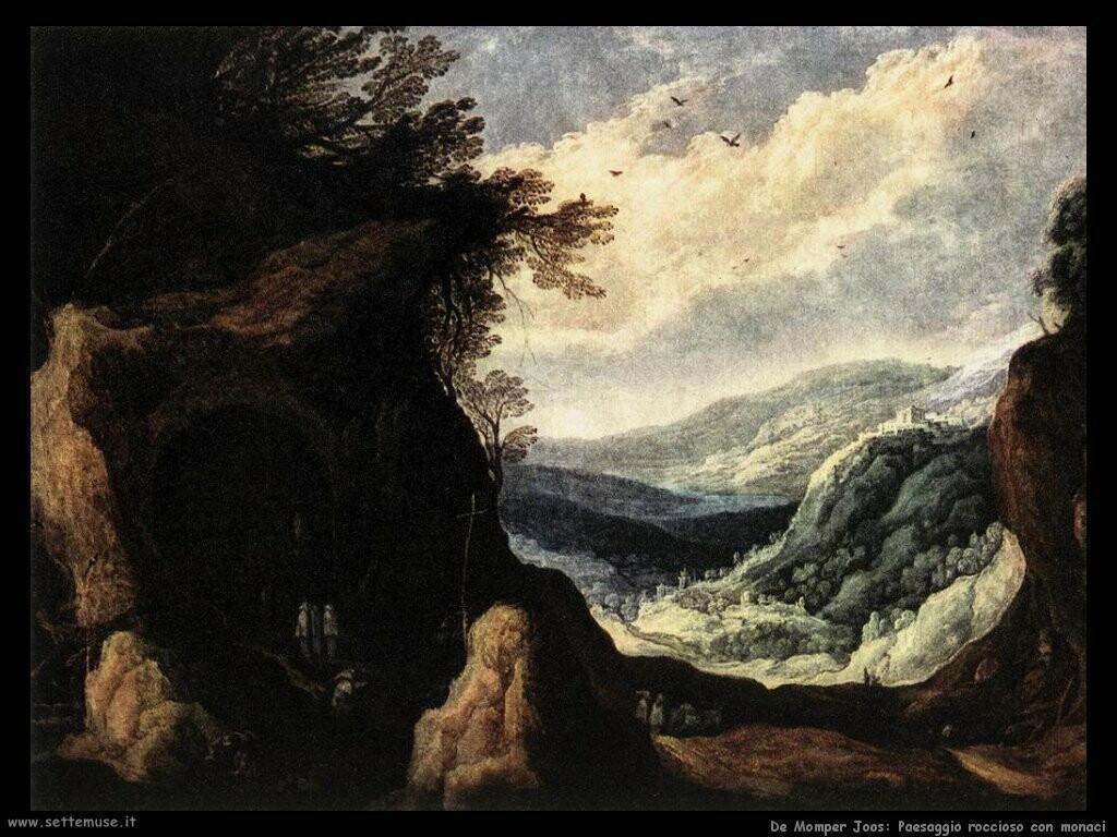 de momper joos Paesaggio roccioso con monaci