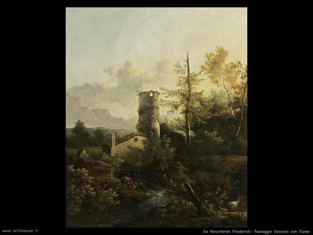 de moucheron frederick Paesaggio di montagna con bosco e fiume