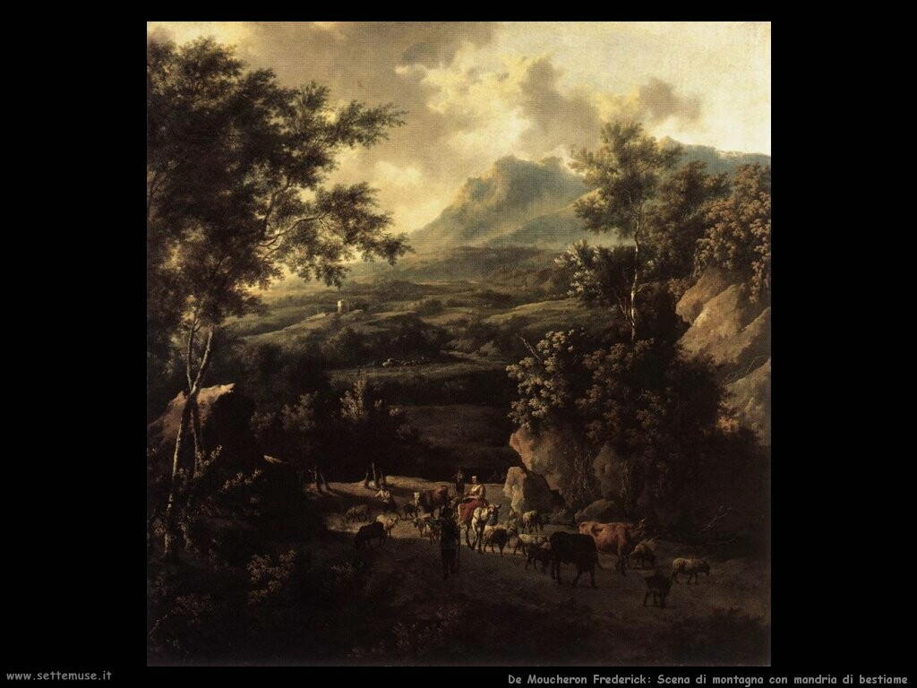 de moucheron frederick Scena di montagna con mandriano e bestiame