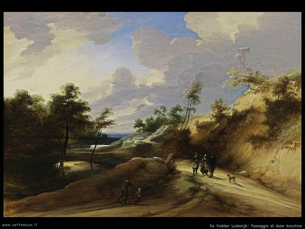 de vadder lodewijk Paesaggio boschivo con dune