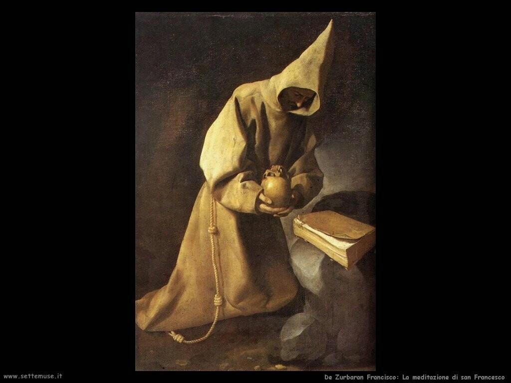 de zurbaran francisco  Meditazione di san Francesco