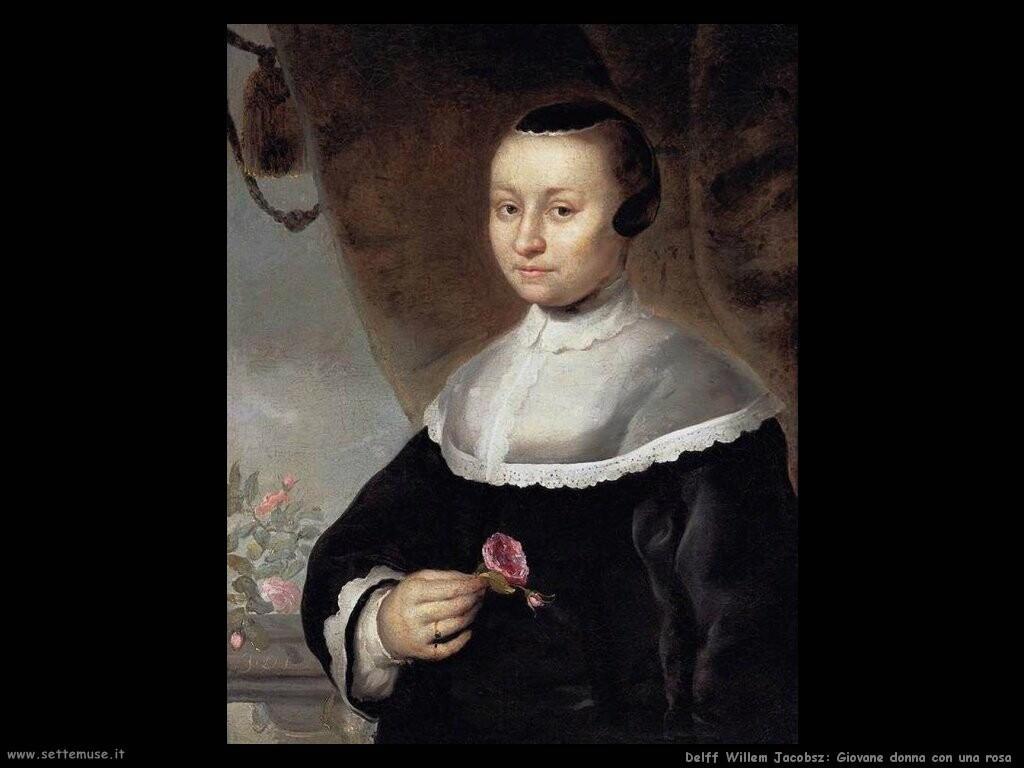 delff willem jacobsz Giovane donna con una rosa