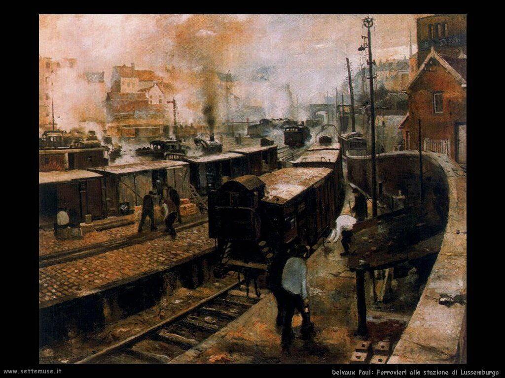 Delvaux Paul Ferrovieri alla stazione di Lussemburgo