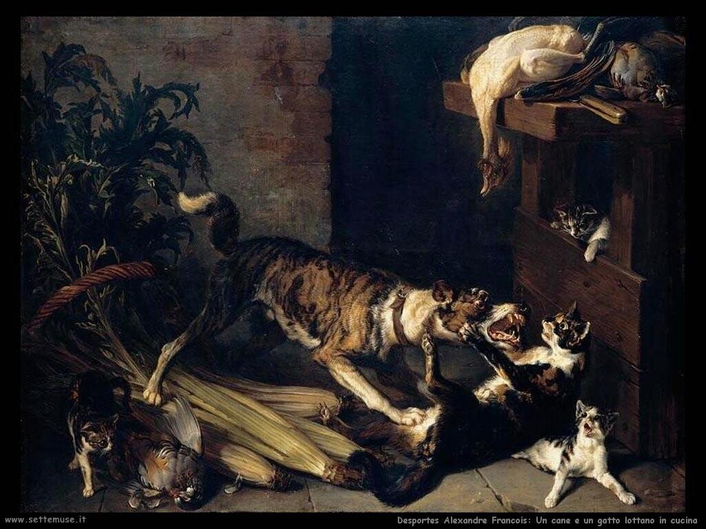 desportes alexandre francois Un cane e un gatto che lottano in cucina