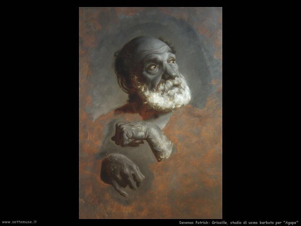 devonas patrick  Grisaille studio di uomo barbuto per Agape
