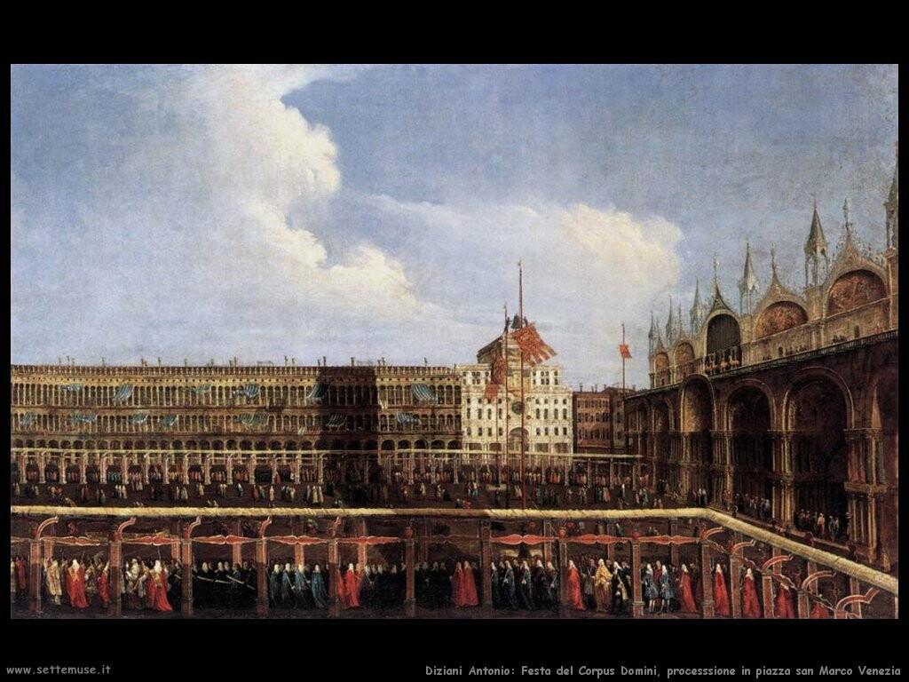 diziani antonio  Festa del Corpus Domini, processione piazza san Marco