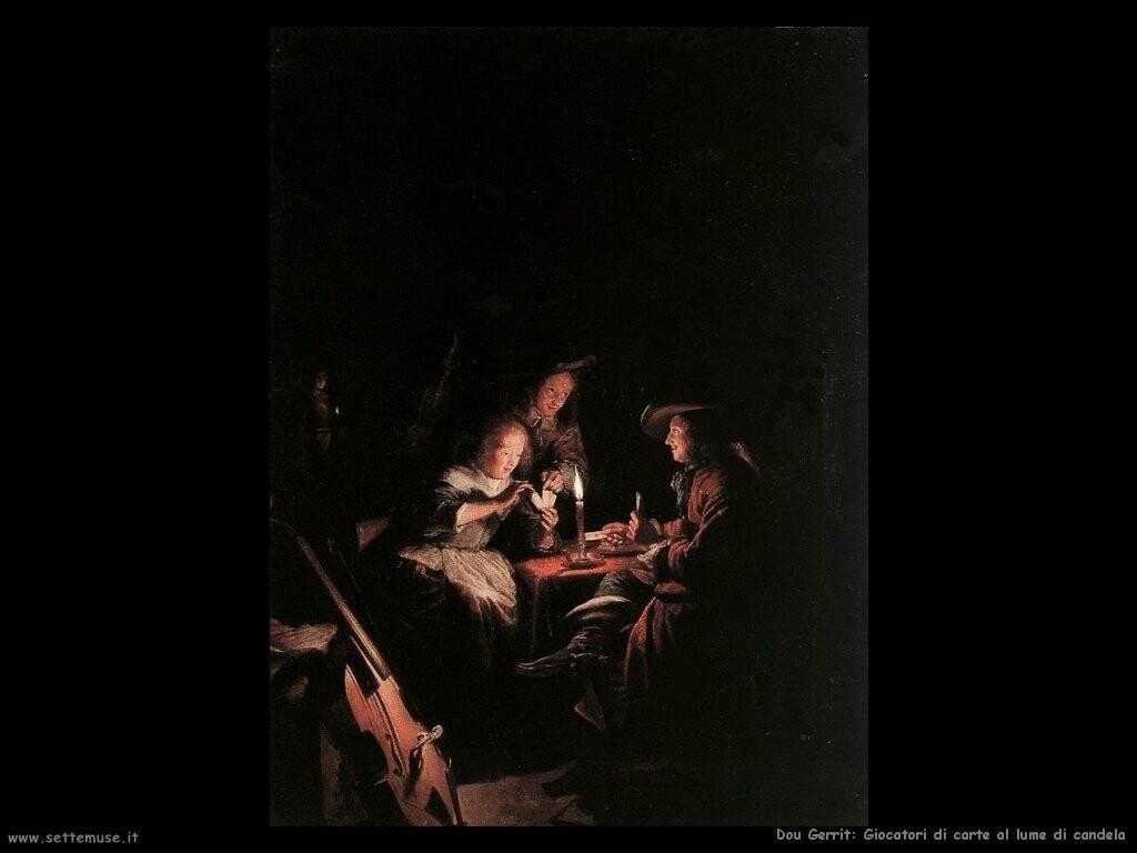 dou gerrit Giocatori di carte a lume di candela