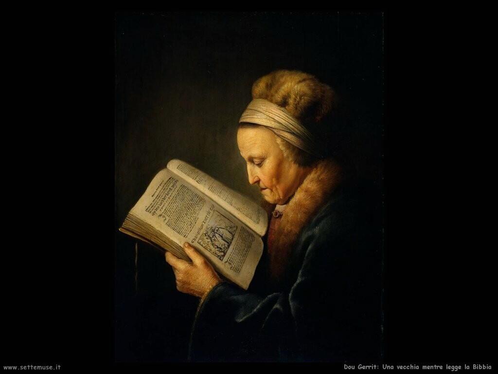 dou gerrit  Vecchia donna mentre legge la Bibbia