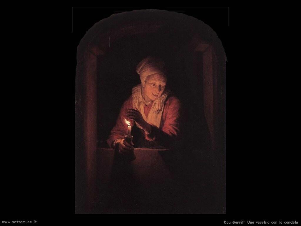 dou gerrit  Vecchia donna con una candela